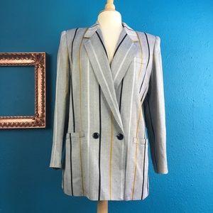 Vtg 80s 90s Kasper oversized grey stripe blazer